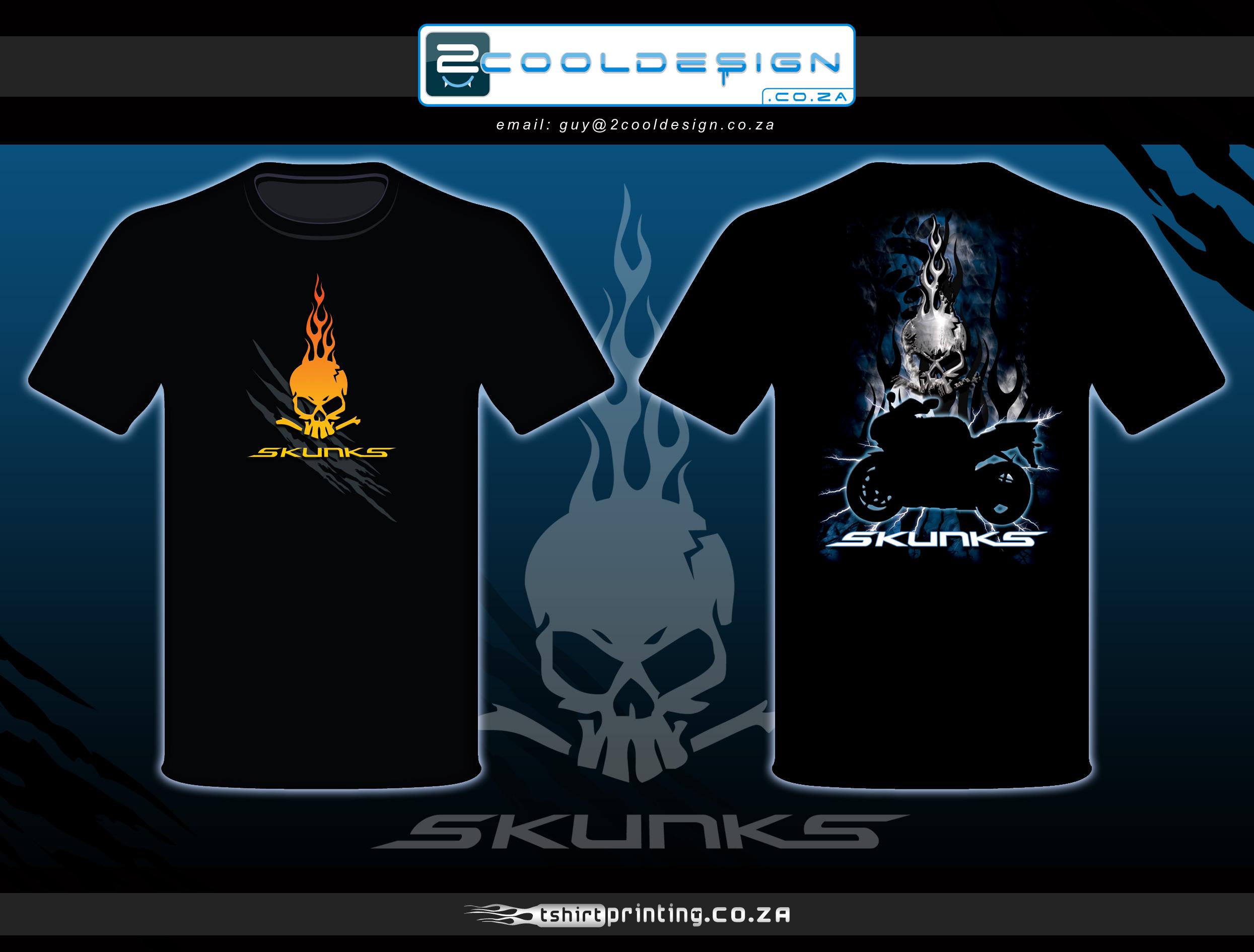 Skunks biker tshirt design by guy tasker 2cooldesign for Logos for t shirts printing