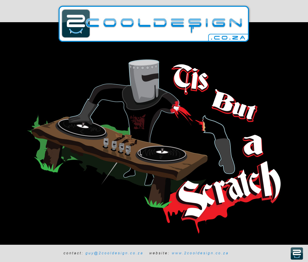 cool t-shirt, cool shirt design,original idea,old school dj, knight dj, wooden dj turntable, funny dj, funny desk,knight with arm chopped off, monty python