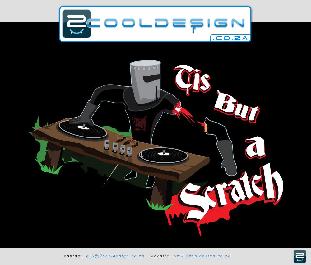 cool t-shirt, cool shirt design,original idea,old school dj, knight dj, wooden dj turntable, funny dj, funny desk,knight with arm chopped off, monty python