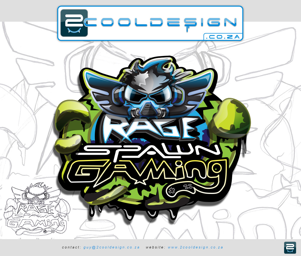 shop logo,game logo,cool game logo,fly with earphones and wings, rage spawn gaming logo design by Guy Tasker
