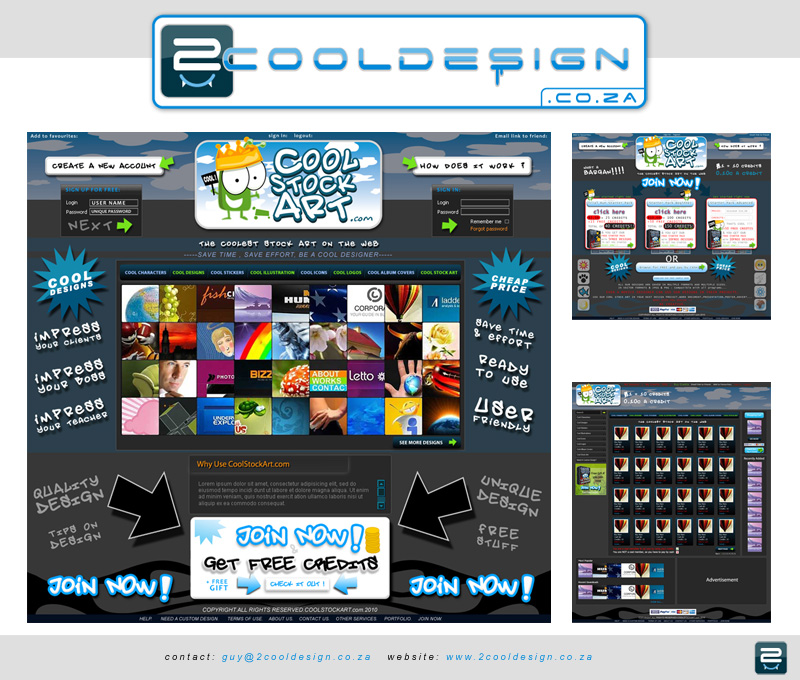 Logo / Website layout design for stock art site concept