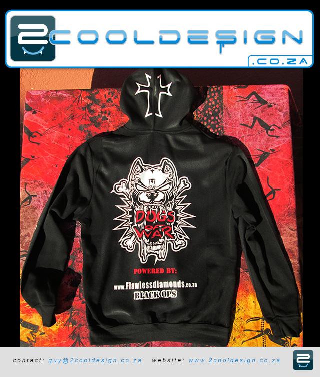print on hood of hoodies